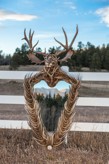 Antler Mirror With Deer Head Sculpture Crest By Jeff