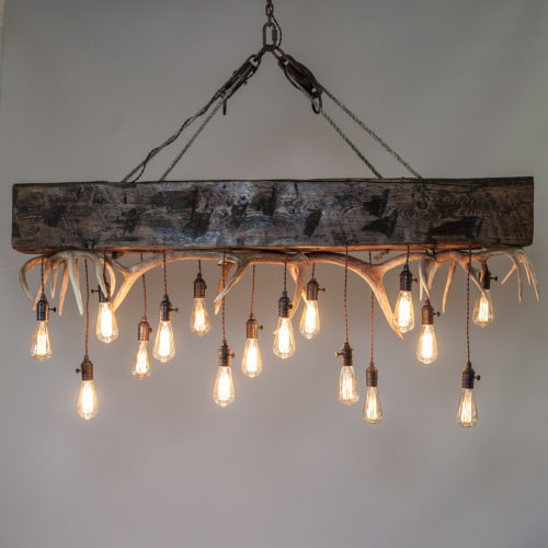 Timberline Falls Antler Chandelier On Timber Rustic